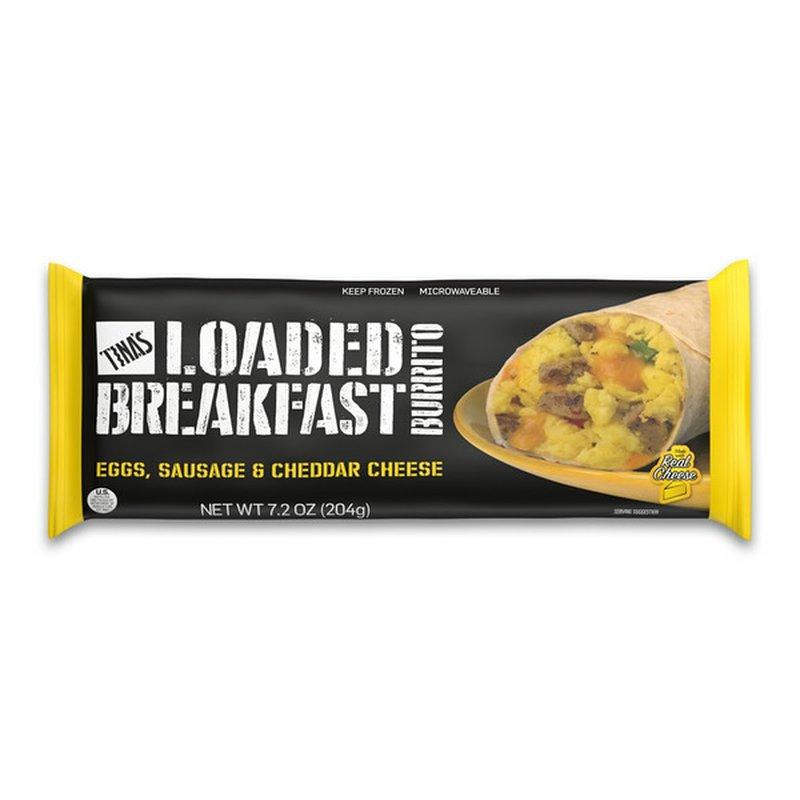 Tina's Eggs, Sausage & Cheddar Cheese Loaded Breakfast Burrito