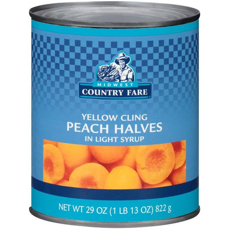 Midwest Country Fare Yellow Cling Peach Halves in Light Syrup