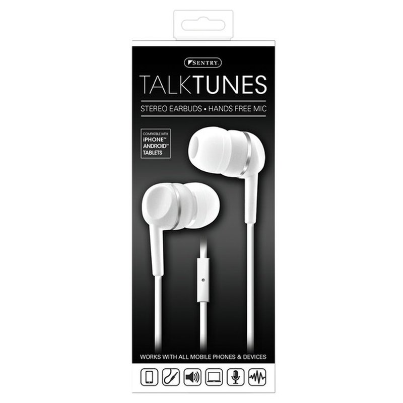 Sentry Pro White Talktunes Stereo Earbuds With Hands Free Mic