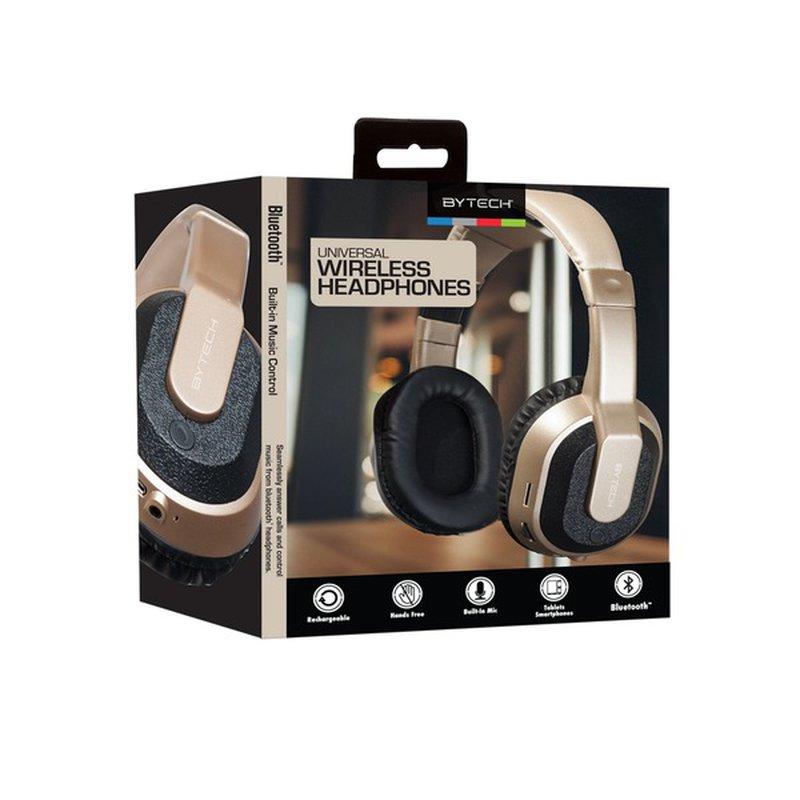Bytech Gold Chrome Bluetooth Headphones With Case