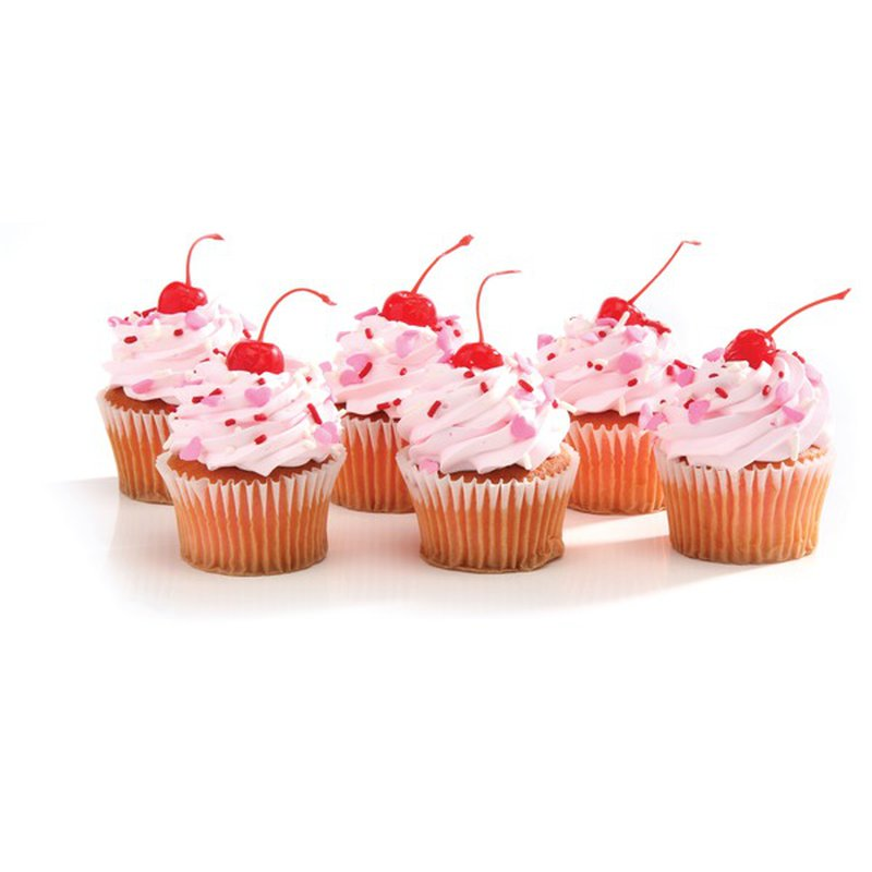 6 Ct Cupcakes Strawberry Topped White