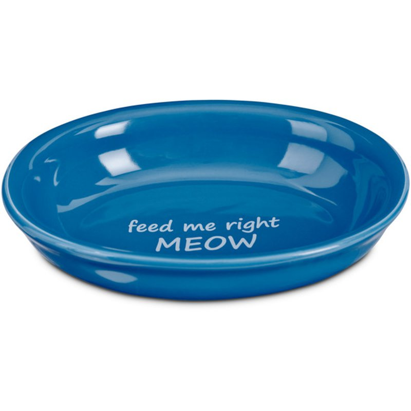 Harmony Feed Me Right Meow Blue Ceramic Cat Bowl 1 C.