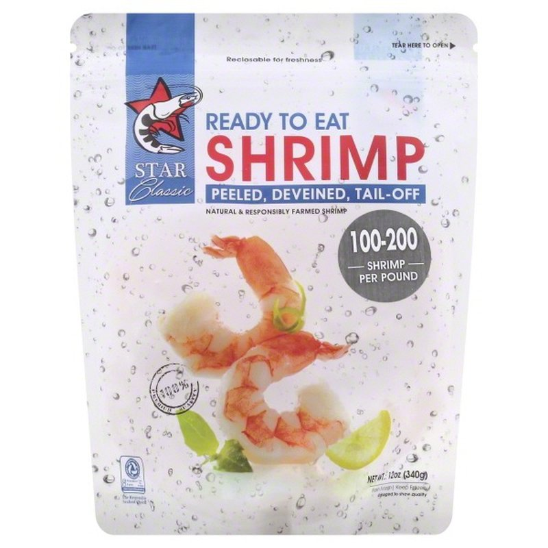 Star Classic Shrimp, Ready to Eat, Peeled, Deveined, Tail-Off