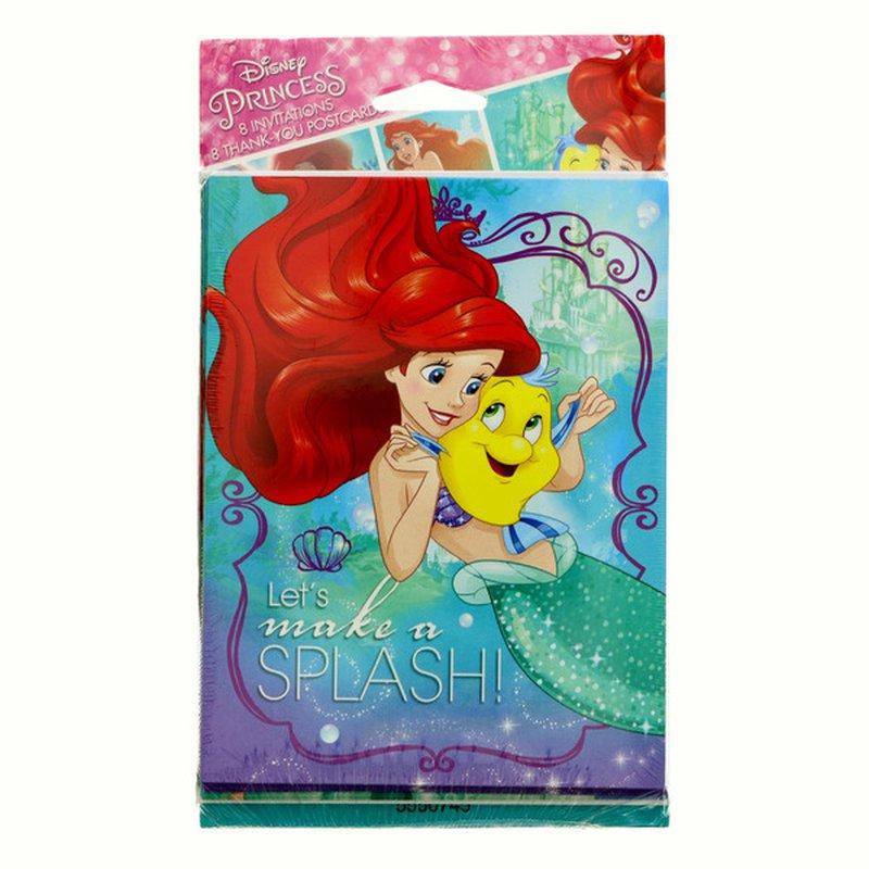 American Greetings Disney Princess Ariel Little Mermaid Dream Big Invite & Thank You Combo Pack