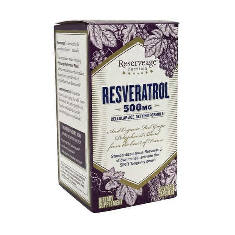 Reserveage Nutrition Resveratrol 500 Mg Dietary Supplement 60 Ct