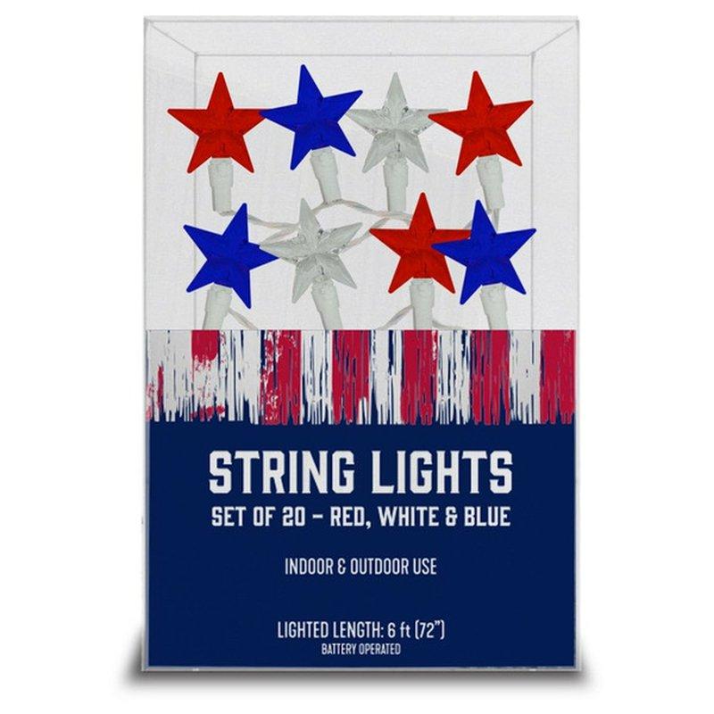 Americana Red White & Blue LED Star Lights Patriotic String Light Set