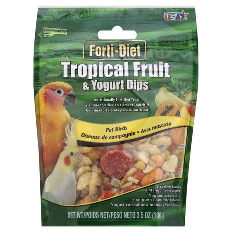 Kaytee Forti Diet Tropical Fruit & Yogurt Dips Pet Birds Strawberry Banana & Mango Flavored Yogurt