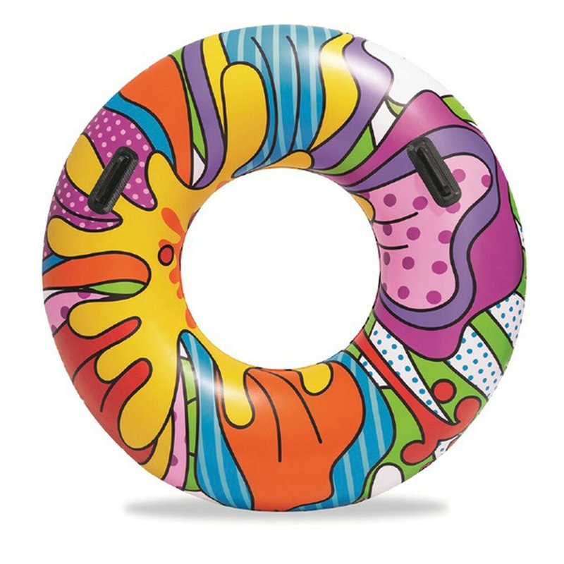 """Bestway 47"""" Pop Art Swim Tube Pool Lake Inflatable Summer Party Ride On Float with Handle"""