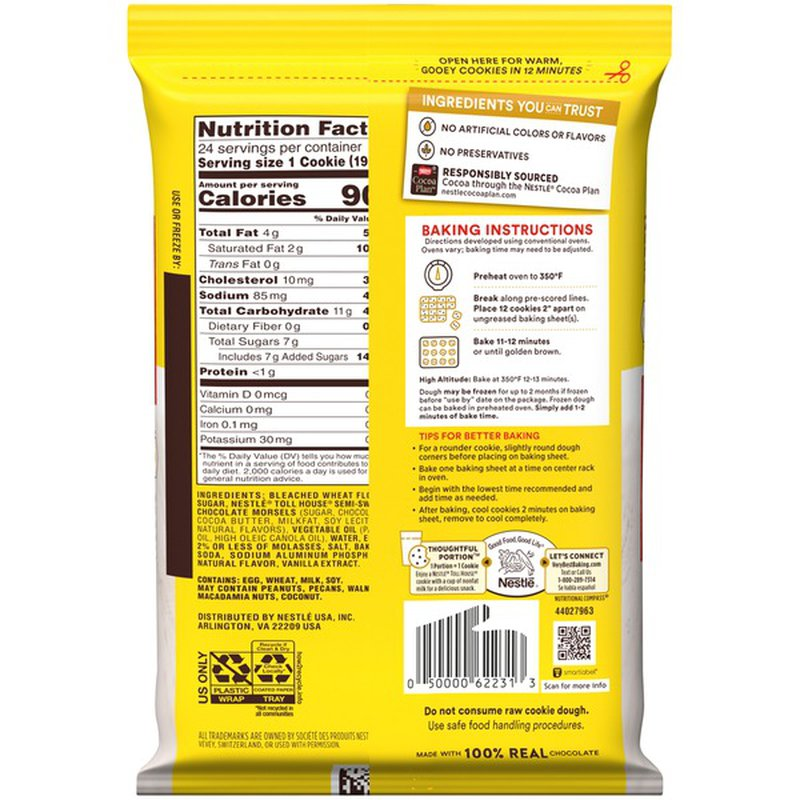 Nestle TOLL HOUSE Chocolate Chip Cookie Dough 16.5 oz. Pack