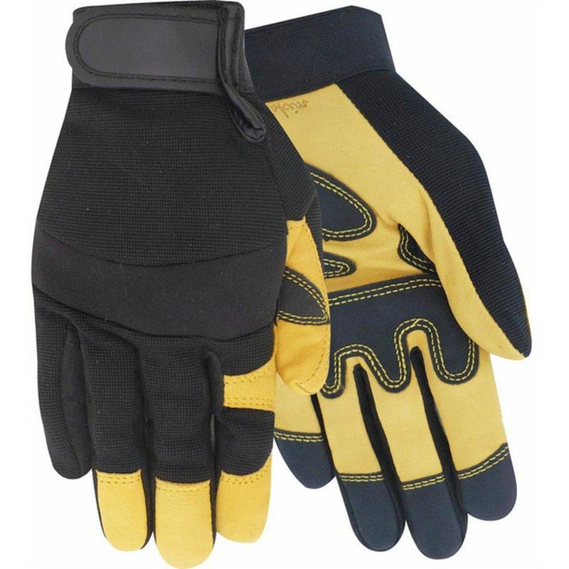 Red Steer Glove Company Men's Medium Black & Yellow Hybrid Driver Goatskin PVC Palm Glove