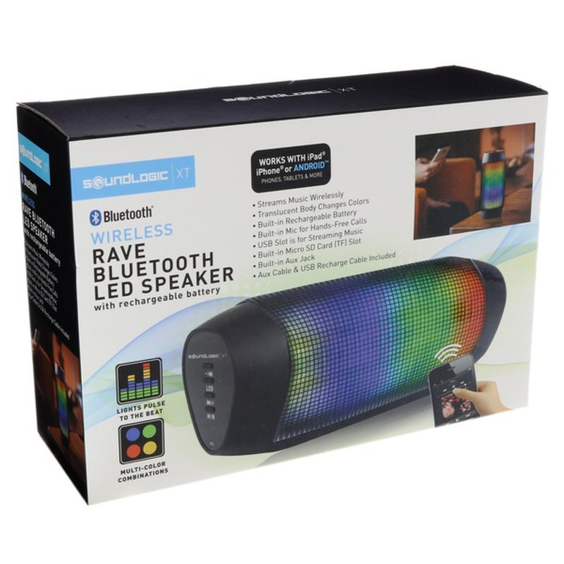 Sound Logic LED Portable Rechargeable Wireless Bluetooth Rave Dance Party Speaker Phone