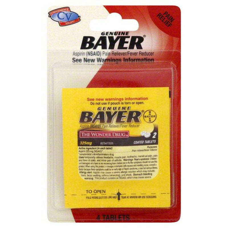 Bayer 325mg Convenience Valet Aspirin Coated Tablets