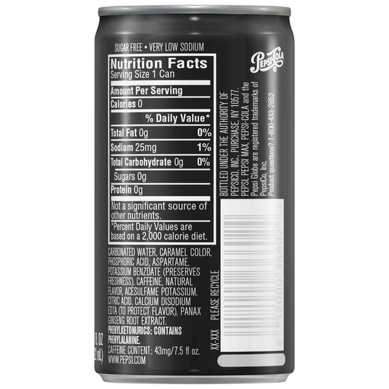 Pepsi Max Zero Calorie Cola 7 5 Fl Oz Instacart
