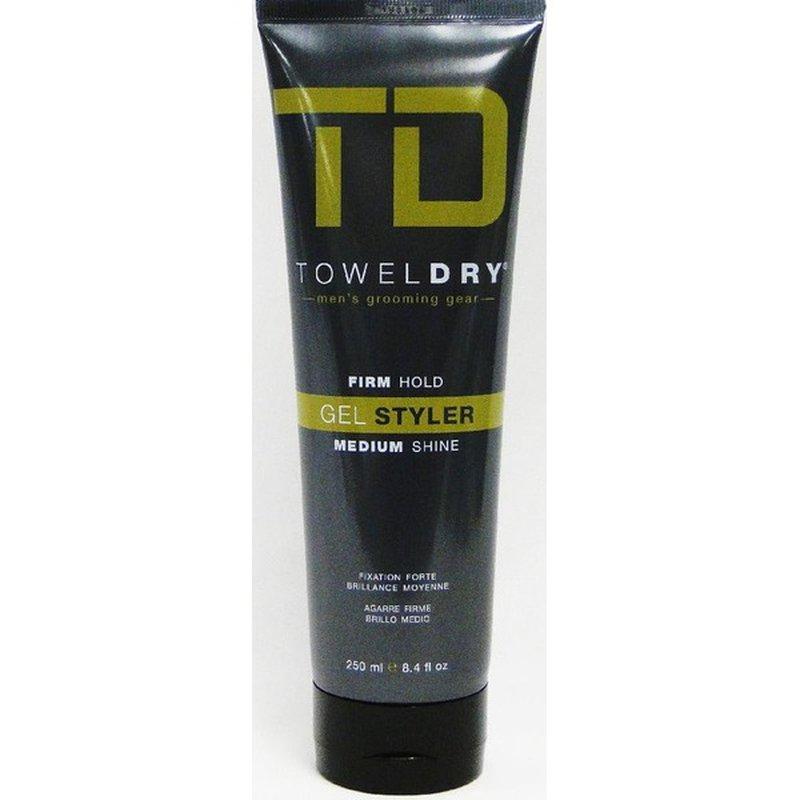 Towel Dry Men's Firm Hold Gel Styler, Medium Shine