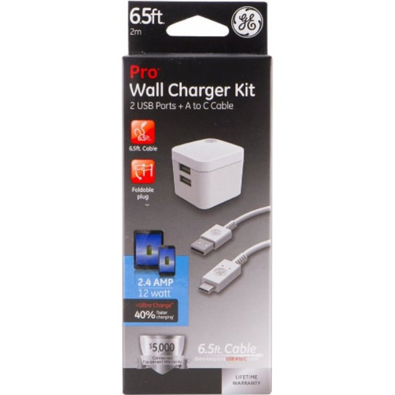 General Electric 6.5' USB A to C Pro Wall Charger Kit