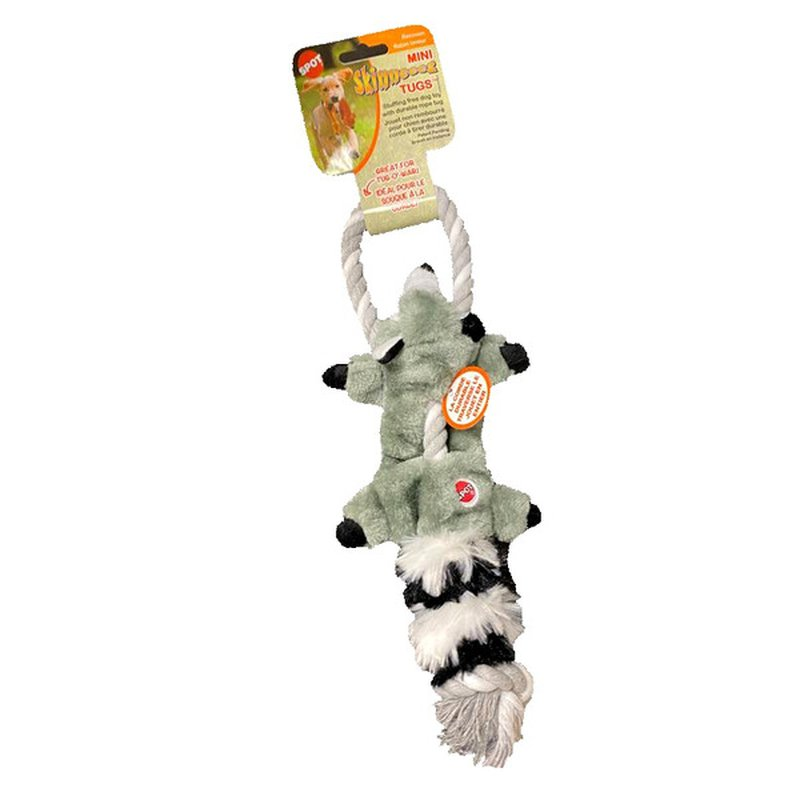 Spot Skinneeez Mini Tugs Forest Racoon Dog Toy With Durable Rope Tug