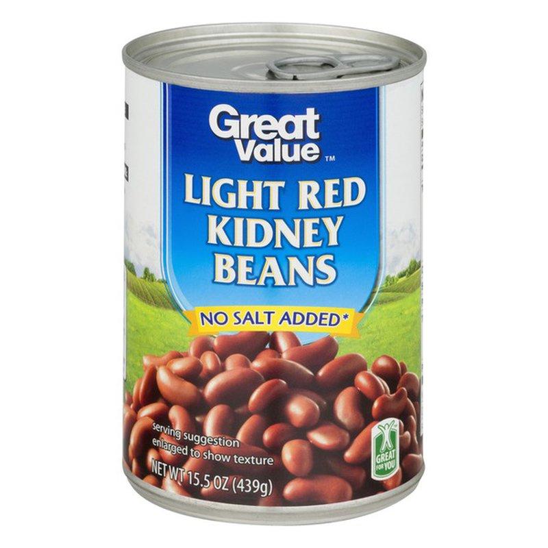 Great Value Light Red Kidney Beans No Salt Added Canned 15 5 Oz 15 5 Oz Instacart