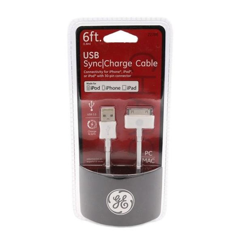 Jasco GE 22786 6' Apple to USB 2.0 for iPhone & iPod Cable