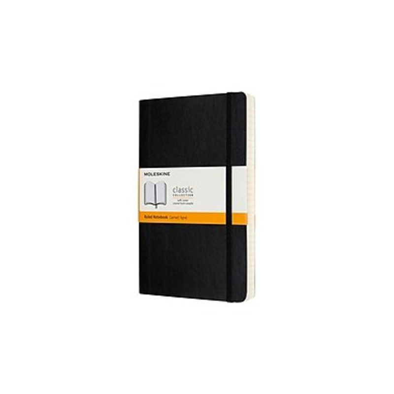 Moleskine QP616EXP Large Ruled Black Soft Cover Classic Expanded Notebook
