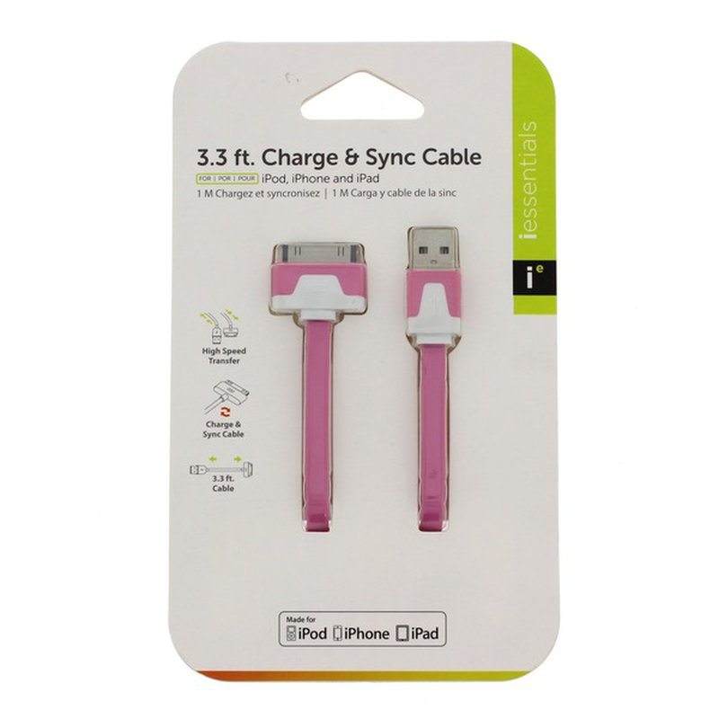 I Essentials Iphone 3.3 Ft 30 Pin Flat Charge & Sync Cable, Pink