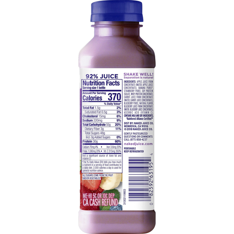 Naked Juice Protein Double Berry Juice Smoothie 15.2 fl