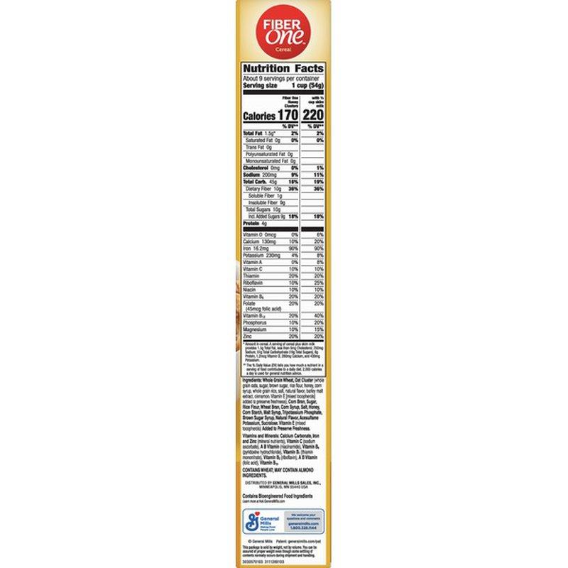 Fiber One Cereal, Honey Clusters (17.5 oz) - Instacart