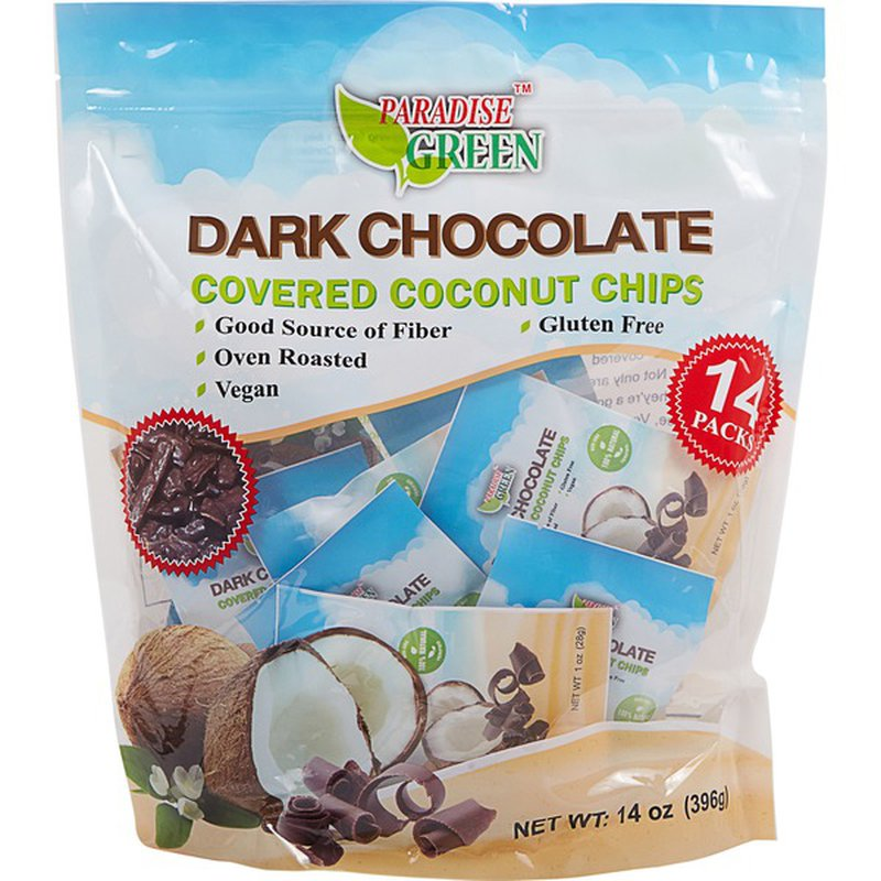 Paradise Green Dark Chocolate Covered Coconut Chips