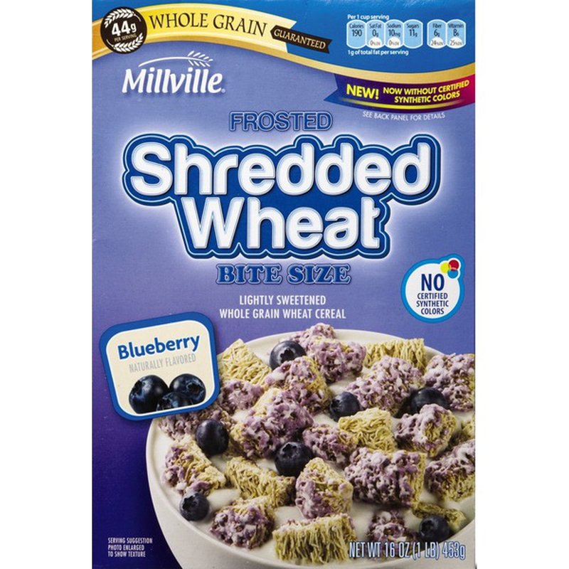 Millville Frosted Shredded Wheat Cereal, Blueberry