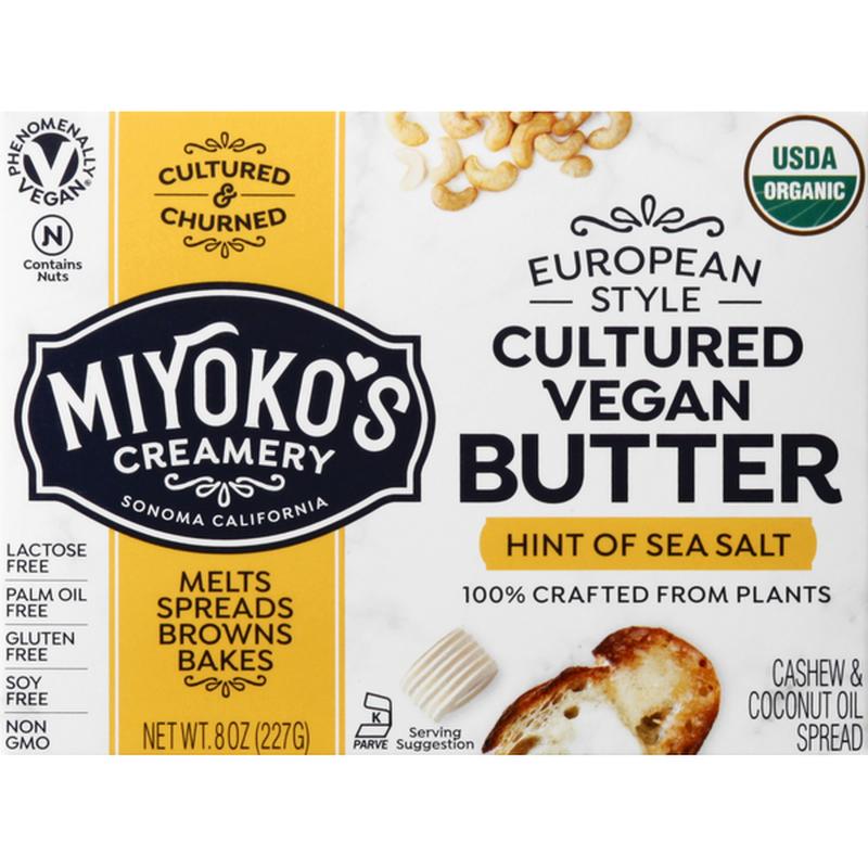 Miyokos Creamery Butter, Cultured Vegan, Hint of Sea Salt, European Style