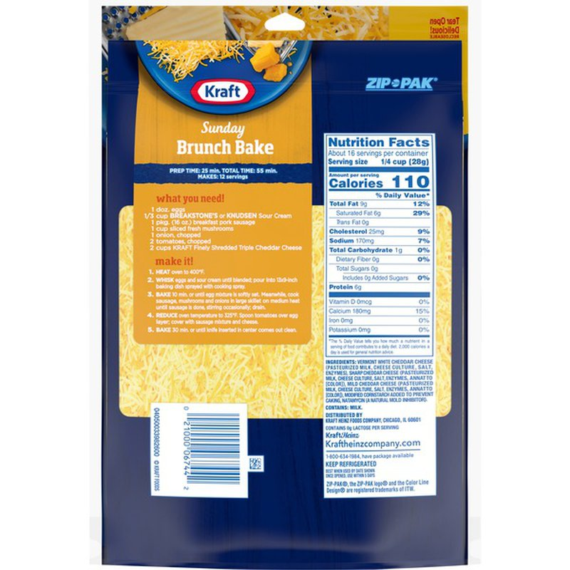 Kraft Triple Cheddar Finely Shredded Natural Cheese (12 oz ...