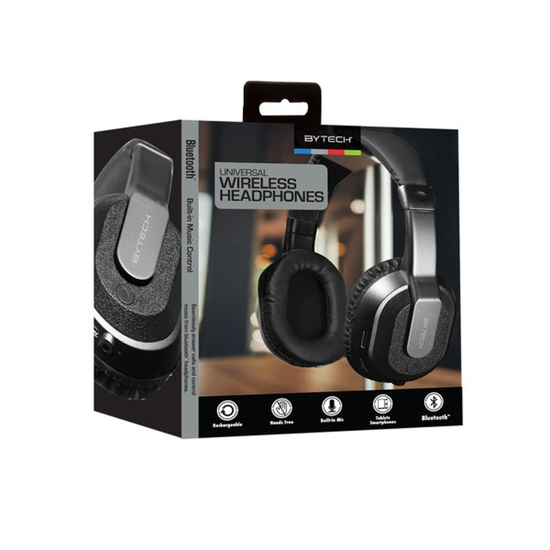 Bytech Black Chrome Bluetooth Headphones With Case