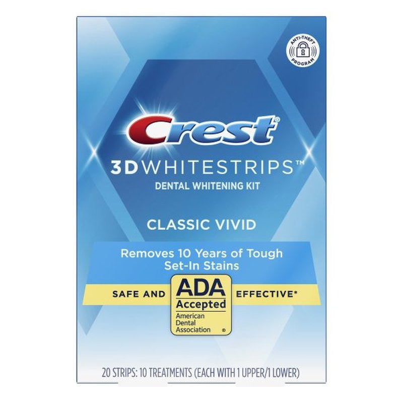 Crest 3Dwhitestrips Classic Vivid At-Home Teeth Whitening Kit