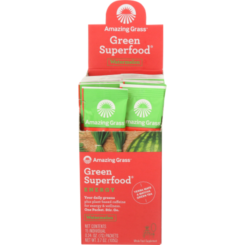 Amazing Grass Green Superfood ENERGY plus plant-based caffeine for energy & wellness Whole Food Supplement PACKETS, Watermelon