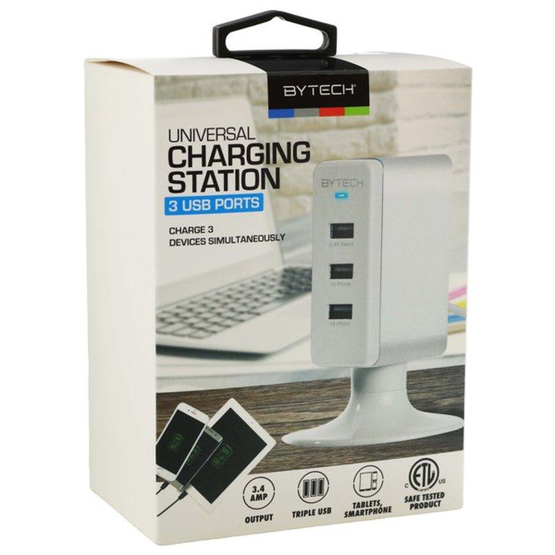 Bytech White 3 USB Ports Universal Charging Station