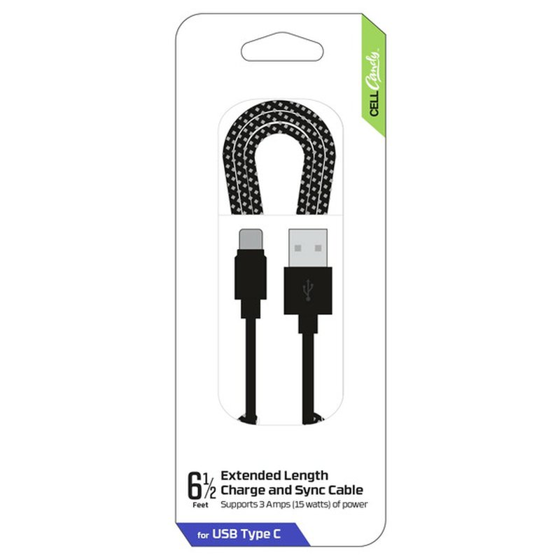 CellCandy 6.5' Black Braided Charge & Sync USB-Type C Cable