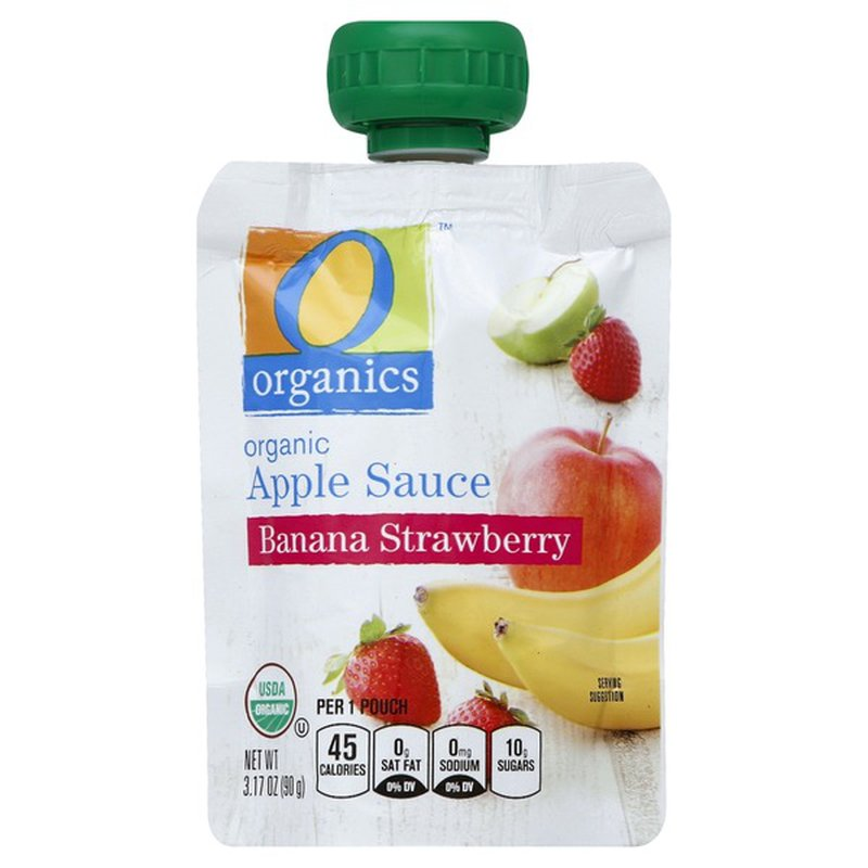 O Organics Apple Sauce, Organic, Banana Strawberry