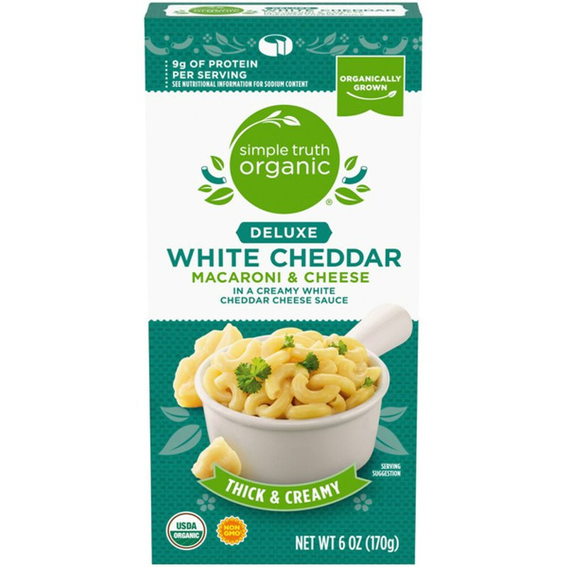Simple Truth Organic White Cheddar MACARONI & CHEESE In a creamy white cheddar cheese sauce