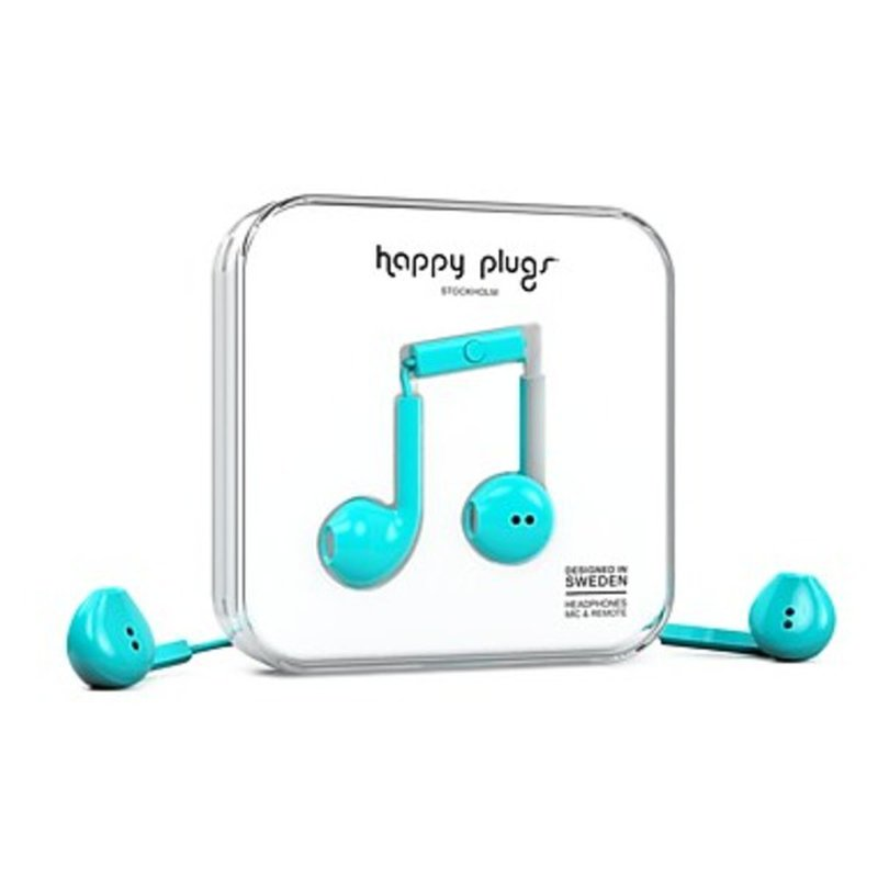 Happy Plugs 7817 Turquoise Earbud Plus Wired Headphones With Mic