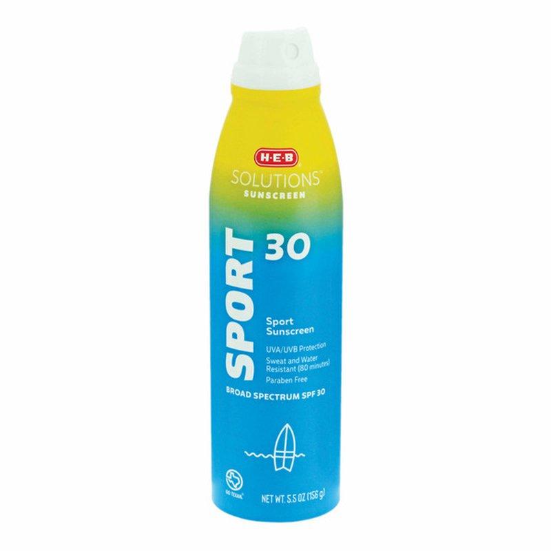 H-E-B Solutions Sport Broad Spectrum Sunscreen Spray Spf 30