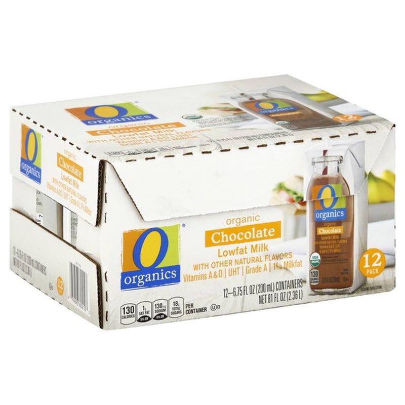 O Organics Milk, Lowfat, Organic, Chocolate, 1% Milkfat, 12 Pack