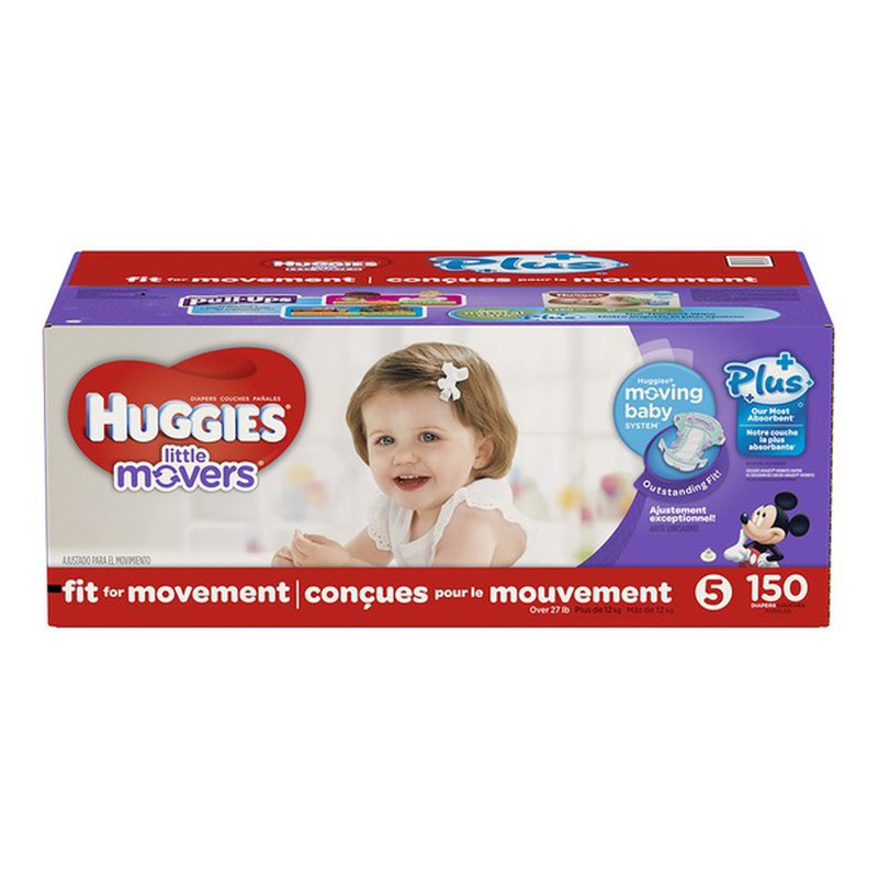 Huggies Little Movers Plus Diapers Size 5 150 Ct For Day And Night Protection