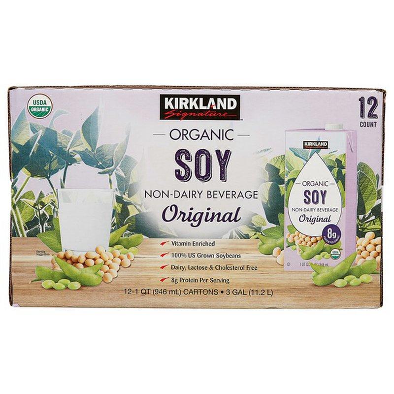 Kirkland Signature Organic Plain Soy Milk, 12 x 32 oz