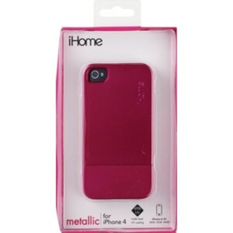 iHome 2x Shock Protection Black and Pink Metallic Tough Case For Iphone 4 & 4s