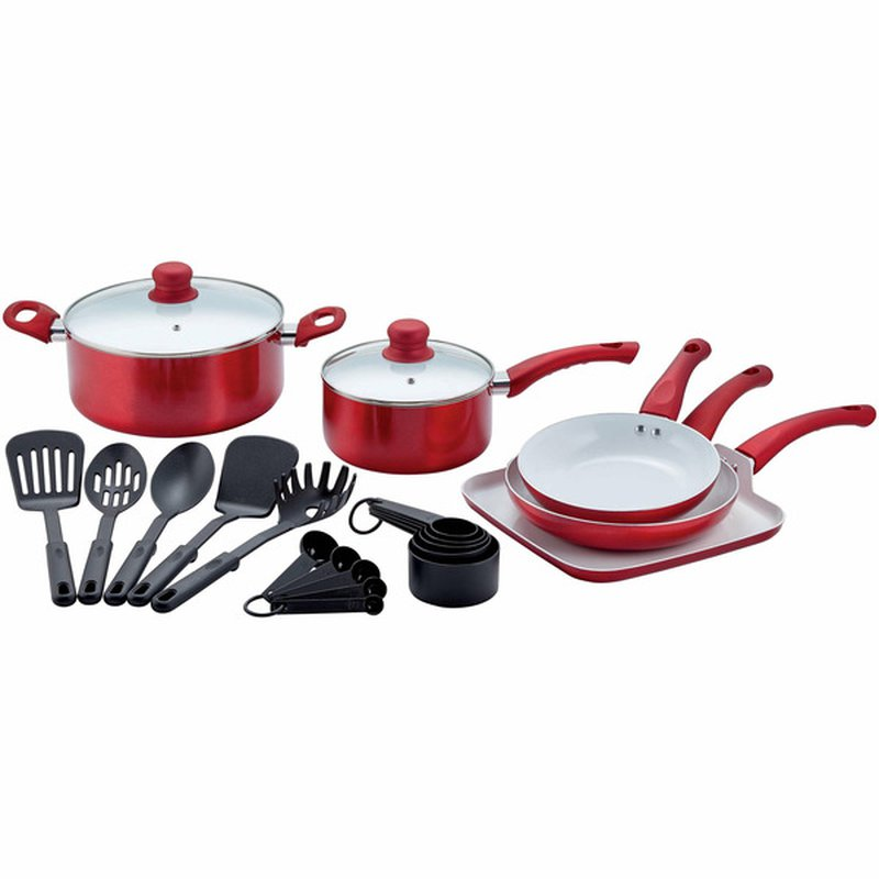 Chef Style 22-Piece Metallic Red Cookware Set