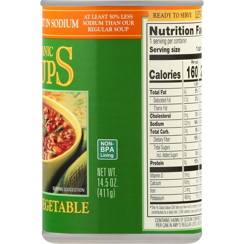 Amy's Organic Soups Lentil Vegetable Soup, Organic, Light in Sodium