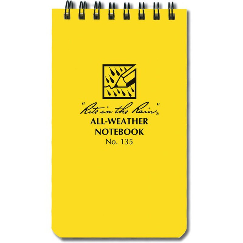 """Rite in the Rain 3"""" X 5"""" All-Weather Yellow Student Spiral Notebook"""