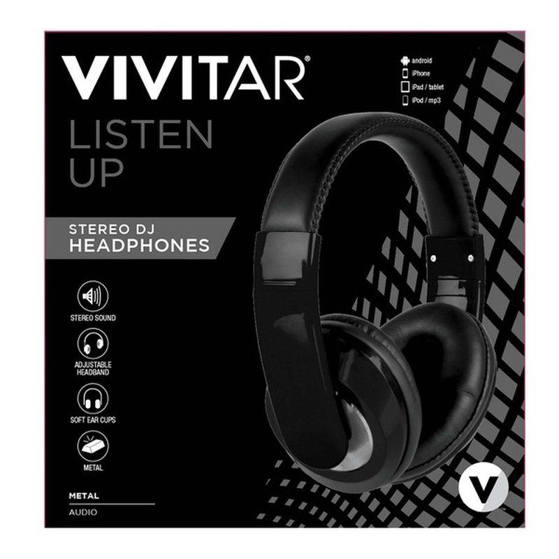 Vivitar Black Listen Up Stereo Headphones Control Music
