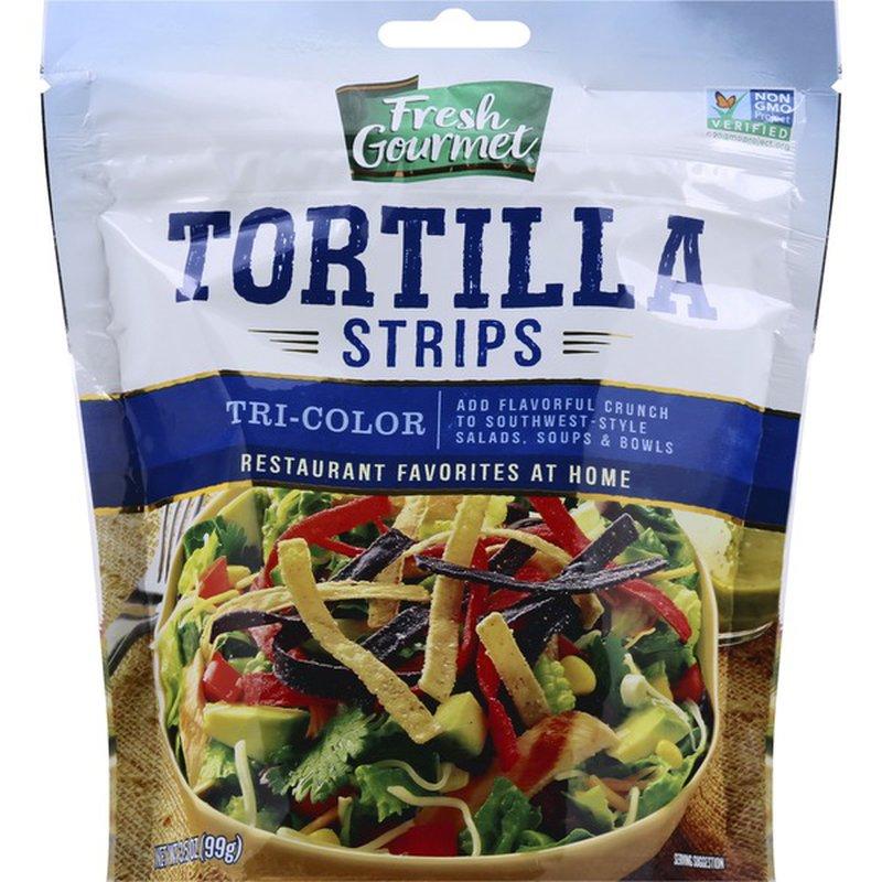 Fresh Gourmet Tortilla Strips, Tri-Color