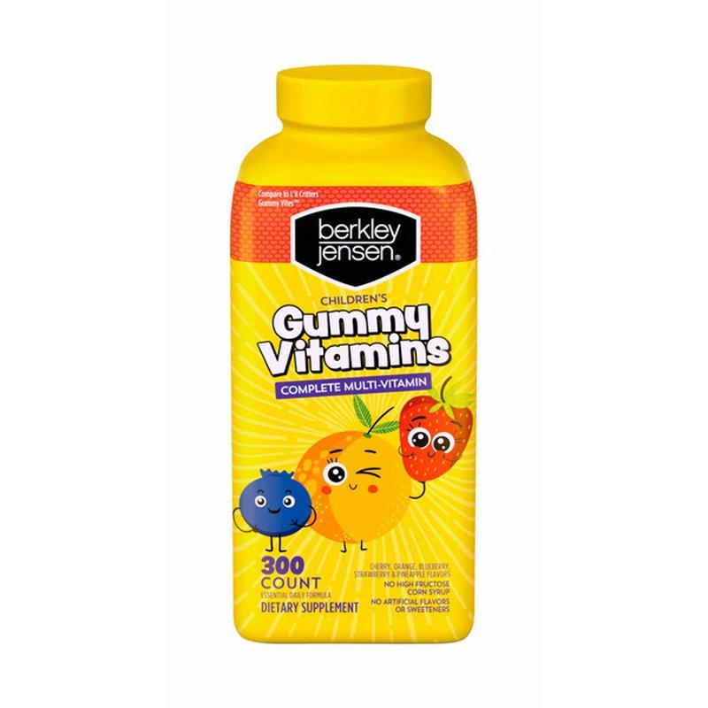 Berkley Jensen Children's Complete Multi-vitamin Dietary Supplement Gummy Vitamins, Cherry, Orange, Blueberry, Strawberry & Pineapple