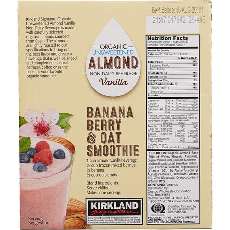 Kirkland Signature Organic Unsweetened Vanilla Almond Beverage, 6 x 946 ml